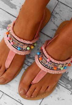 Budapest Pink Multi Beaded Sandals