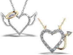 "Diamond Heart Angel or Devil ""Naughty or Nice"" Pendant in Sterling Silver | eBay"