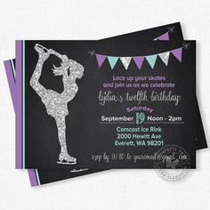 Ice Skating Invitation Ice Skating Birthday by ConfettiFete                                                                                                                                                                                 More
