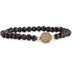 Bavna Black Spinel & Pave Diamond Stretch Bracelet ($288) ❤ liked on Polyvore featuring jewelry, bracelets, black, beads jewellery, bavna jewelry, beaded bangles, beading jewelry and stretch jewelry