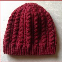 8ply cable beanie in sizes 2 years to Lady.