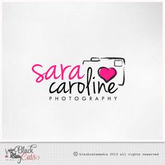 Photography logo  - Photo camera and heart -  Eps file and watermark included - Custom Premade affordable