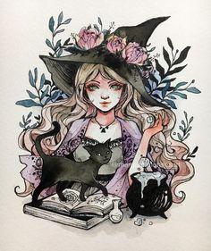 witch and black cat art - Art - Katzen Halloween Illustration, Art Et Illustration, Halloween Drawings, Halloween Halloween, Halloween Artwork, Art Illustrations, Character Illustration, Pretty Art, Cute Art