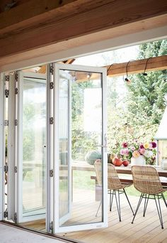 Contemporary Deck with Nana Wall Folding Glass Wall, The Comfi Cottage Abstract Rattan Metal Study Chair Beautiful Kitchens, Beautiful Homes, Nana Wall, Chair Photography, Round Chair, French Chairs, Outdoor Living, Sweet Home, New Homes