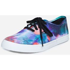 Vans Galaxy Print Trainer ($58) ❤ liked on Polyvore featuring shoes, sneakers, vans, canvas lace up sneakers, canvas footwear, vans trainers, nebula shoes and canvas shoes