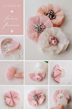 ARTE COM QUIANE - Paps,Moldes,E.V.A,Feltro,Costuras,Fofuchas 3D: aprenda fazer: Flores de tecido (fabric flowers DIY)
