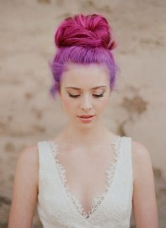 Pastel pink and purple bun hair