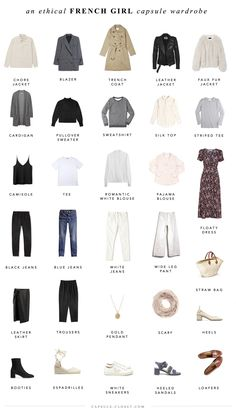 An ethical French style capsule wardrobe – CAPSULE CLOSET I've been more fascinated by French style than ever lately. It's inherently a thoughtful, sustainable approach to dressing, because it incorporates a lot of classic, neutral pieces tha… French Capsule Wardrobe, Capsule Wardrobe Essentials, French Wardrobe Basics, Parisian Wardrobe, Tomboy Capsule Wardrobe, Capsule Outfits, Classic Wardrobe, Closet Essentials, Closet Basics