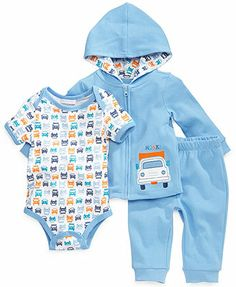 First Impressions Baby Boys' 3-Piece Bodysuit, Hoodie & Pants Set