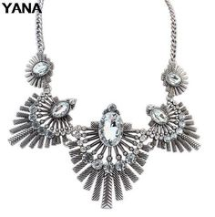 YANA Jewelry 4 Colors Fashion Vintage Geometry Choker Necklaces Statement rhinestone Necklaces & pendants For Woman  2015 New