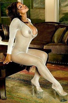 Dark Beauty In A White Fishnet Body Stocking