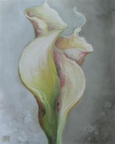 """HELLENNE VERMILLION  Calla Lilies in an Embrace, 2012  oil painting on stretched canvas  20"""" h x 16"""" w x 1"""" d"""