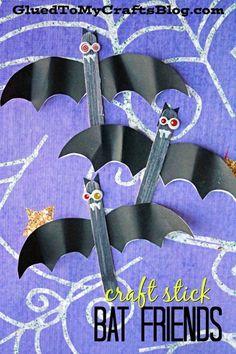 Craft Stick Bat Friends - Halloween Kid Craft - Free Printable Bat Wing Template