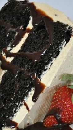Cappuccino Cake ~ Incredibly moist Dark Chocolate Cake iced with a Whipped Cappuccino Buttercream icing