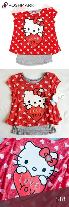 """🆕️❤ Hello Kitty Love You 2fer Brand new with tags, Valentine themed Hello Kitty tee that says, """"Love You."""" Perfect gift for your little girl or great for classroom Valentine parties! Twofer style tee with attached longer length gray tank top underneath. Super cute, only 1 available! Hello Kitty Shirts & Tops Tees - Short Sleeve"""