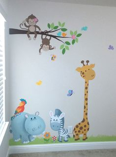Nursery Murals - Leila's Art Corner - Face Painting, Balloons, Kids Parties, Murals, and Art for Kids. Serving the Dallas / Fort Worth (DFW) area. Kids Room Murals, Murals For Kids, Kids Room Paint, Nursery Murals, Wall Murals, Art For Kids, Wall Decal, Room Wall Painting, Balloon Painting