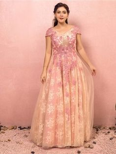Plus Size Pink Lace Appliques Backless Prom Dress Friday Bridal Best Plus Size Dresses, Plus Size Gowns Formal, Evening Dresses Plus Size, Formal Evening Dresses, Short Sleeve Prom Dresses, Backless Prom Dresses, Prom Party Dresses, Wedding Dresses, Bridesmaid Dresses Plus Size