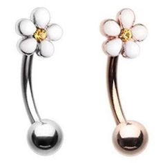 """PLUMERIA FLOWER CURVED EYEBROW RING BARBELL BODY PIERCING JEWELRY (16g 5/16"""")"""