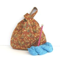 Japanese Knot Knitting Bag Large Project Bag Rust Moss Green