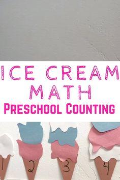 Summer Preschool Activities, Preschool Education, Preschool Learning Activities, Preschool Lessons, Number Activities For Preschoolers, Preschool Number Activities, Pre K Activities, Ice Cream, Math Numbers