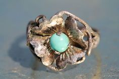 Vintage 1960's Hippie Sterling Silver Flower Ring Set with Turquoise Glass in Center
