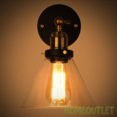 Vintage-Industrial-Glass-Metal-Sconce-Wall-Light-Adjustable-Rustic-Lamp-Cafe