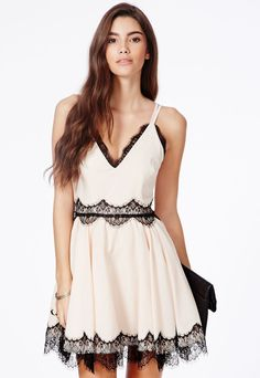 Berneen Nude Puffball Skater Dress With Eyelash Lace