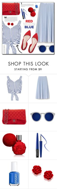 """red white blue"" by abha-garg ❤ liked on Polyvore featuring WithChic, Lacoste, Chanel, Illesteva, MAKE UP FOR EVER, Essie, 4thjuly, polyvoreeditorial, polyvorecontest and redbluewhite"