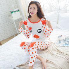 2017 가을 잠옷 여성 Pijamas Mujer 만화 돼지 문자 잠옷 팜므 긴 소매 잠옷 여성 정장 운동복