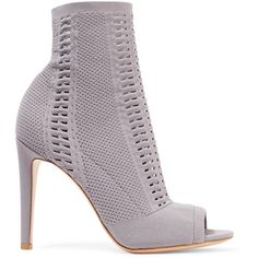 Gianvito Rossi Vires 105 peep-toe perforated stretch-knit ankle boots (€820) ❤ liked on Polyvore featuring shoes, boots, ankle booties, peep-toe booties, perforated booties, perforated peep toe booties, grey ankle boots and gray booties