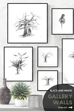 Four different layout ideas for hanging your pictures. Loving these artworks? Browse my Etsy store for my selection of printable fine art. #printablewallart #bedroom #livingroom #blackandwhite #minimalist #DIY #etsy #bedroomblackandwhite #livingroompictures #livingroomblackandwhite #farmhouse #livingroomdecor #boho #bedroomcouple #bedroomaesthetic #bedroompictures #setof3 #simple #bedroomminimalist #shopwallart Grey Wall Art, Black And White Wall Art, White Ink, Artwork For Living Room, Living Room Pictures, Wall Art Decor, Wall Art Prints, Bedroom Interiors, Plant Drawing