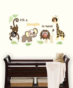Cute wall decals- shows baby pics for 3, 6, 9, 12 months  Take a look at this Jungle Friends Photo Frame Wall Decal Set by WallPops! on #zulily today!