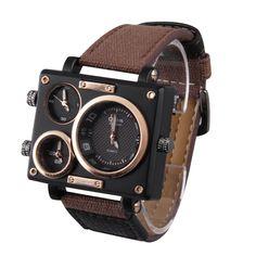 Professional Big Square Dial 3 Time Zone Movet Quartz Leather Wrist Watch Relogio Feminino Sale