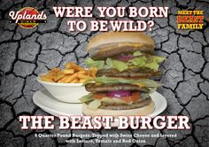 THE BEAST BURGER 4 Quarter Pound Burgers, Topped with Swiss Cheese and layered  with Lettuce, Tomato and Red Onion