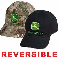 John Deere Reversible Black/Camo Hat by John Deere. $9.00. The first of it?s kind! A completely reversible cap! One side is black, the other camouflage. Both sides feature embroidered logo on front. Unstructured. Velcro closure with logo on woven label.