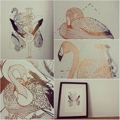 Flamingo #screenprint #bronze #TheletterBee #TheletterB