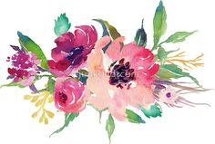 «Watercolor Wild Flower Pink Bouquet» de junkydotcom