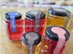 Wholesale Hexagon Shape Empty Jam Honey Glass Jar With Tinplate