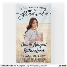 Graduation Photo & Elegant Black Script Class Year Banner - tap, personalize, buy right now! Boyfriend Graduation Gift, Graduation Gifts For Daughter, Graduation Thank You Cards, Graduation Banner, Graduation Celebration, Graduation Day, Graduation Party Decor, Graduation Photos, Graduation Announcements