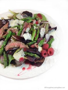 Grilled Steak, Raspberry & Asparagus Salad comes together quickly at the last minute, perfect for company. It's a gorgeous and appetizing main dish salad to enjoy.
