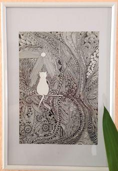 Zentangle / Doodle - Katze von Silberstreif. #zentangle #doodle #zendoodle