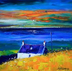 Just love the colours in this.and so lucky to own it! said the original pinner♥✿♥ Colorful Paintings, Contemporary Paintings, Cottage Art, Landscape Artwork, Naive Art, Beach Art, Art Techniques, Painting Inspiration, Making Ideas