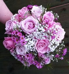 Sweet Wedding Bouquet Featuring: Pink Roses, Hot Pink Roses, Lavender Roses, Hot Pink Waxflower, White Gypsophila