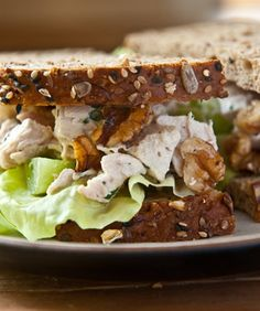 10 Things to Do With a Rotisserie Chicken: Chicken Salad Sandwich with chicken, halved green grapes, toasted walnuts, mayonnaise, crème fraîche, Dijon mustard, fresh lemon juice, and chopped fresh tarragon