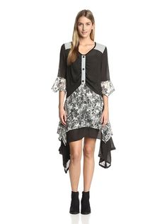 Lily by Firmiana Women's Floral Patchwork Handkerchief Dress at MYHABIT