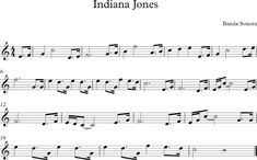 Indiana Jones. Fragmento de la Banda Sonora                                                                                                                            Más Indiana Jones, Piano Music Notes, Music Tabs, Guitar Sheet Music, Violin Sheet Music, Music Lessons, Guitar Lessons, Music Score, Disney Songs