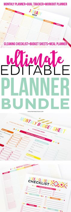 This Printable Set includes all of my most popular Editable Printable Planners: 2017 Monthly Calendar and Goal Tracker, Workout Schedule, Cleaning Checklist, Meal Plan, and Budget Worksheets!