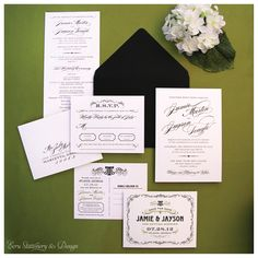 Black and White Thermography Invitations and Save-the-Date on Luxurious Eggshell Paper by ECRU Stationery & Design