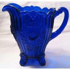 Cobalt Blue Glass Dahlia Footed Lemonade Pitcher