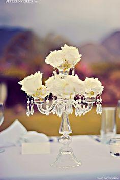 Crisp White Wedding Decor   Table Chandeliers